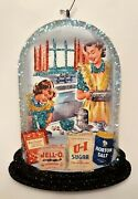 Mother And Daughter Baking In Kitchen Glitter Christmas Ornament Vtg Img