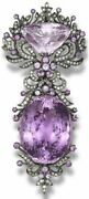 Silver Diamond Amethyst Pendant And Brooch Beautiful Creation With Amethyst