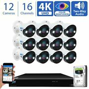 16 Channel 4k Nvr 12 X 8mp Starlight 4k Microphone Poe Ip Security Camera System