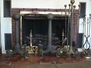 Antique Cannonball Heavy Estate Fireplace 30 Tall Andirons 38 Tall Tool Set