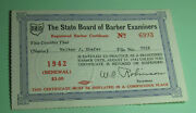 1942 Ohio State Board Of Barber Examiners Business License Tax Certificate