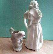 Vintage 2 White Porcelain Character Pitcher Jug Collectible Pottery Made England