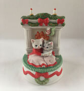 Kitty Cucumber Music Box Our First Christmas Together Schmid 1989 White Xmas