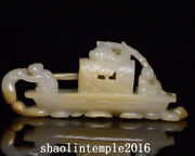 Infrequent China Antique Natural Nephrite Hand Carving Sailboat Statue