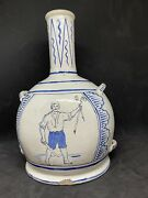 'interesting' Blue And White 28cm High Faience Bottle Vase Or Flask.