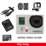 Gopro Hero 3 Silver Action Camera Camcorder With Waterproof Case + 8g Sd Card