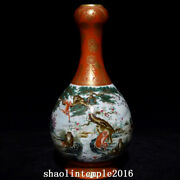 11.6china Qing Dynasty Coral Red Tracing Gold Monkey Pattern Garlic Bottles