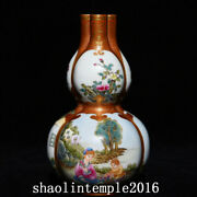 China Qing Dynasty Fighting Colors Western Figure Three Pipes Gourd Bottle