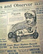 Louis Meyer Wins Indianapolis Indy 500 Milk Tradition Begins 1936 Newspaper