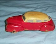 1940s Sun Rubber Red And Yellow Sedan Toy Car
