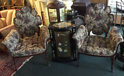 Pair Of Two Antique Carved Walnut Frame Fireside Parlor Arm Chairs