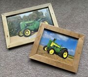 Lot Of 2 John Deere Tractor Pictures 1935 Jd Ao, Jd 630 In Homemade Wooden Frame