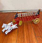 Vintage Cast Iron Toy Two Horse Drawn Hook W/ 2 Fire Men Wagon Truck And 2 Ladders