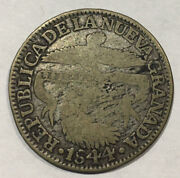 1844 Colombia Coin 2 Reales Silver Foreign Coin Collectors Coin Free Ship Usa