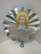 Old Vintage Reflecting Angel Tree Topper Christmas Holiday Decoration