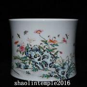 7.8 China Antique Qing Dynasty Pastel Flower Dish Pattern Pen Container