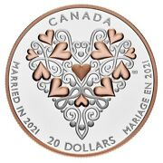 🇨🇦 Canada 20 Dollars 1 Oz Pure Silver Coin Best Wishes Wedding Day 2021