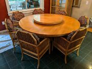 X-large Vintage Heavy Round Wooden Dining Table With Lazy Susan