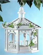 White Gazebo Hanging Bird Feeder Wood Wooden Birdhouse Feed Seed