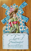 Small Die-cut Mechanical Vintage Valentine Card-girl With Teapot Near Windmill