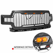 For Ford F150 F-150 18-20 Gray Grill Grille W/ Led Light Honeycomb Raptor Style