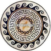 Center Top Marble Dining Table Mosaic Semi Precious Inlaid Kitchen Decor H3828