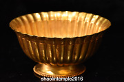5.1 Ancient China 24k Gold Plating Carving Patterns Flower Mouth Copper Bowl