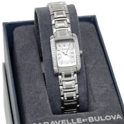 Caravelle By Bulova Womens Stainless Steel Watch, Silver Dial, Glitz Crystals