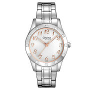 Caravelle By Bulova Womens Stainless Steel Watch, Silver Rose Gold Dial Crystals