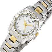Caravelle By Bulova Womens Silver Gold Two-tone Watch, Crystals, Stainless Steel