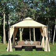 Gazebo Double-tier 10ftandtimes10ft Shelter Shade Awning Canopy Patio Curtain Outdoor