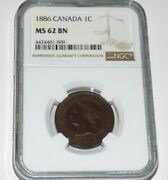 Canada Canadian 1886 Penny Ngc Ms62 Bn Ms 62 Unc One Cent Graded Certified Coin