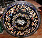 Black Marble Dining Table Side Top Inlaid Semi Precious Kitchen Arts Decor H3796