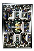 Lapis Stone Bird Art Top Marble Dining Table Floral Inlay Patio Decoration H3946