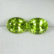 10.92cts Ultra Best Luster Parrot Green Natural Peridot Oval Pair...1