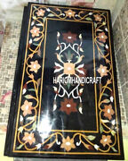 Black Marble Side Dining Table Tops Semi Precious Inlaid Garden Home Decor H3186