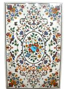 White Marble Dining Table Top Multi Inlaid Gems Birds Marquetry Home Decor W208