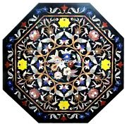 Collectible Multi Mosaic Floral Art Stone Marble Dining Table Garden Decor H4357