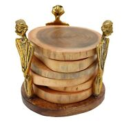 Wooden Antique Tea Coffee Coaster Set For Tea Coffee Cups Mugs Beer Cans Glass