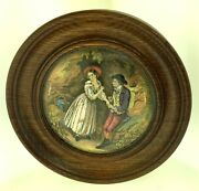 19th C. English Porcelain Pot Lid With Corting Couple - Oak Wood Frame - 6 1/4
