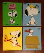 Vintage Lot Of 4 Antique Peanuts Playskool Wooden Tray Puzzles Snoopy