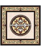 Square Marble Intricate Dining Table Handmade Inlay Work Furniture Decor H5356