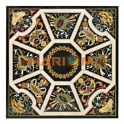 48and039and039 Marble Dinner Table Top Conference Inlaid Marquetry Black Sqaure Decor B321
