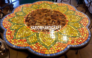 Marble Dining Arts Table Top Inlaid Mosaic Stone Beautiful Creative Decor H3444
