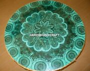 Marble Round Malachite Side Tops Table Living Home Furnishing Inlaid Decor H4686