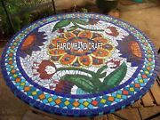 Mosaic Center Inlaid Furniture Marble Dining Top Table Lapis Hallway Decor H3812
