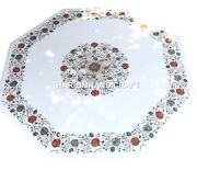 Marble Dining Table Top Multi Gemstone Inlay Marquetry Rare Home Decor Art H1389
