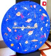 Beautiful Lapis Stone Shells Art Design Marble Table Side Top Inlaid Decor H5314