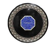 Marble Dining Black Table Top Abalone Lapis Inlaid Stone Kitchen Decorative H487