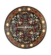 Black Round Marble Scagliola Top Table Inlaid Floral Arts Garden Furniture H4414